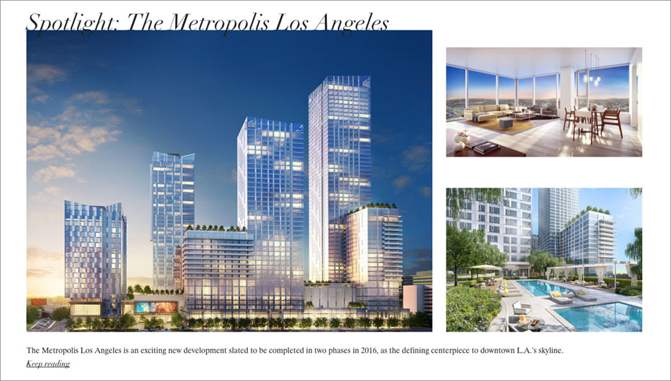Partnership between Douglas Elliman Real Estate and Knight Frank Residential highlighted with spotlight on The Metropolis Los Angeles.