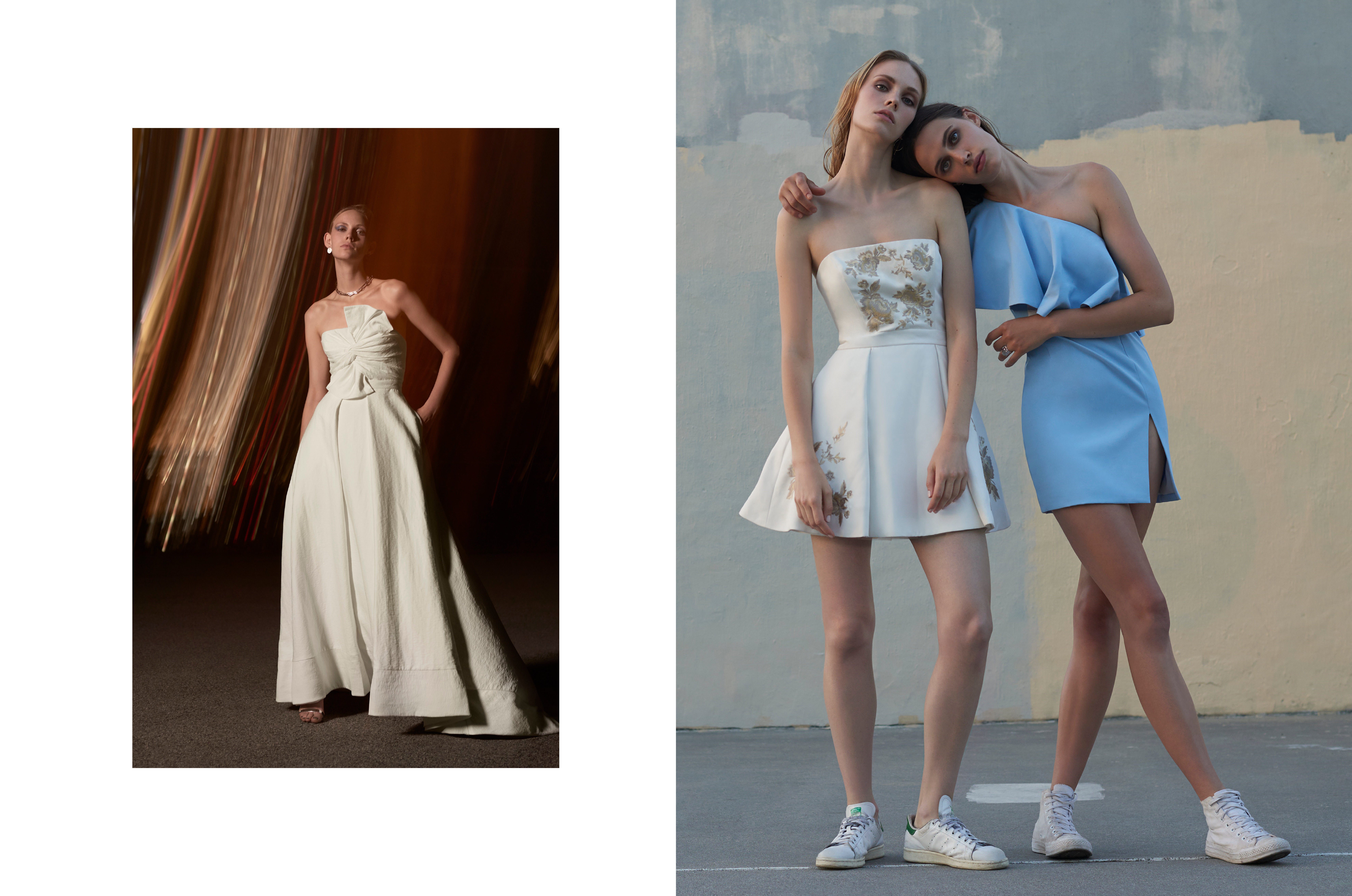 Models wearing dresses from fashion campaign shot by DTE Studio.