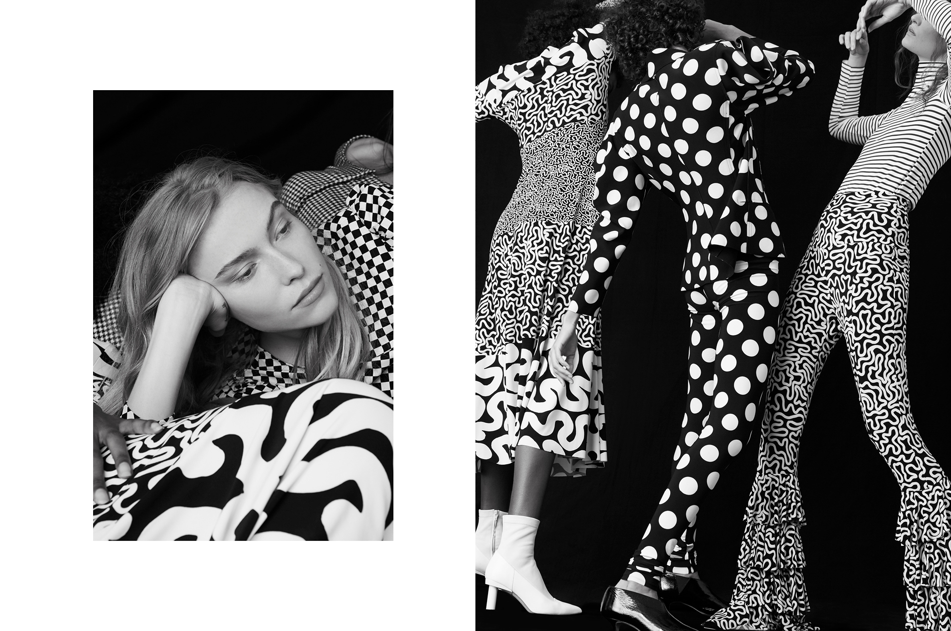 Black and white photos of models showcasing clothes from a fashion line.