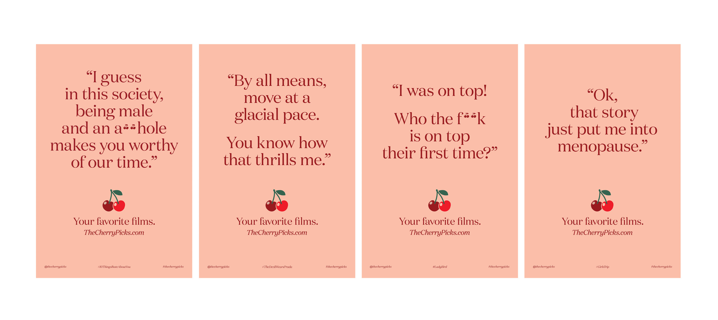 Iconic and funny quotes from #YourFavoriteFilms poster campaign by DTE Studio