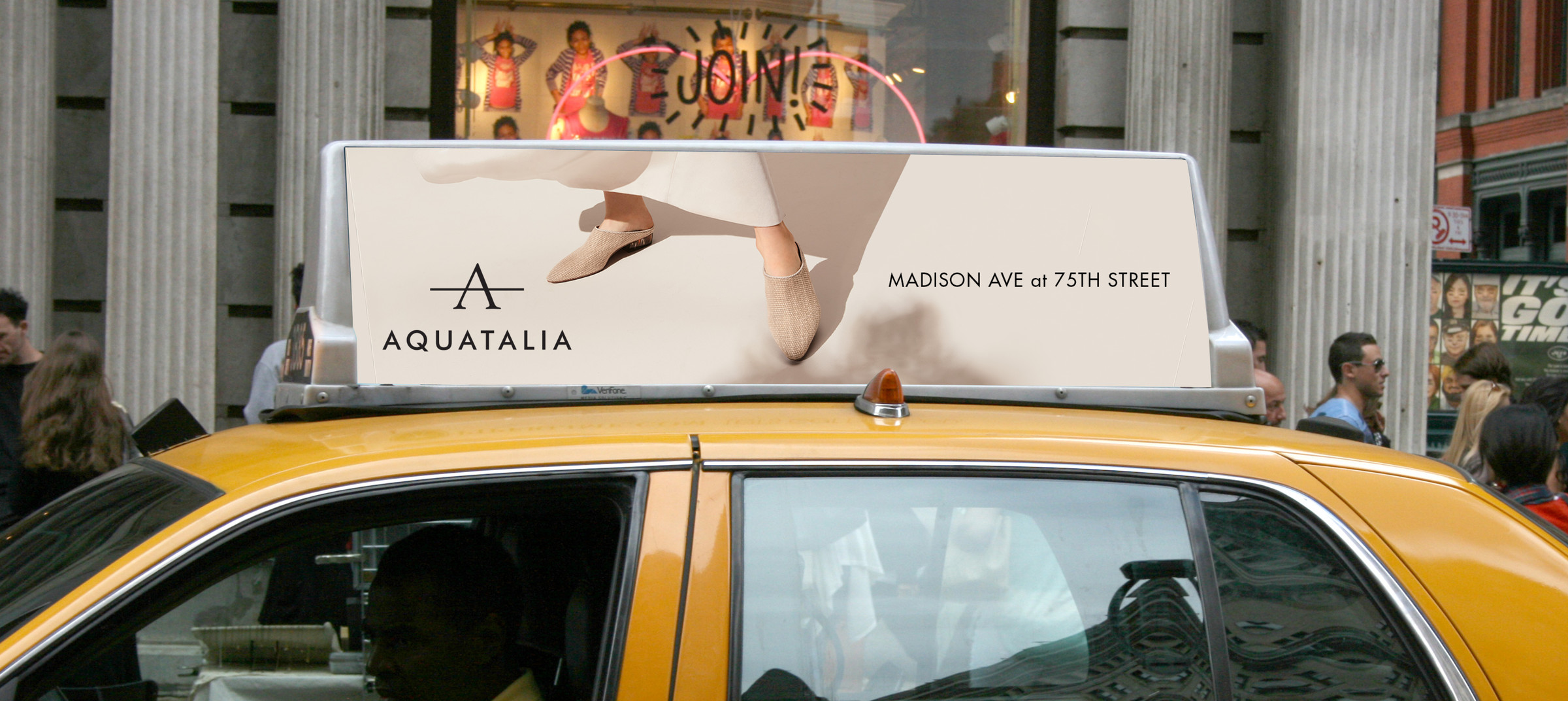 DTE placed Aquatalia's new re-launch campaign into the streets of New York and onto yellow cabs