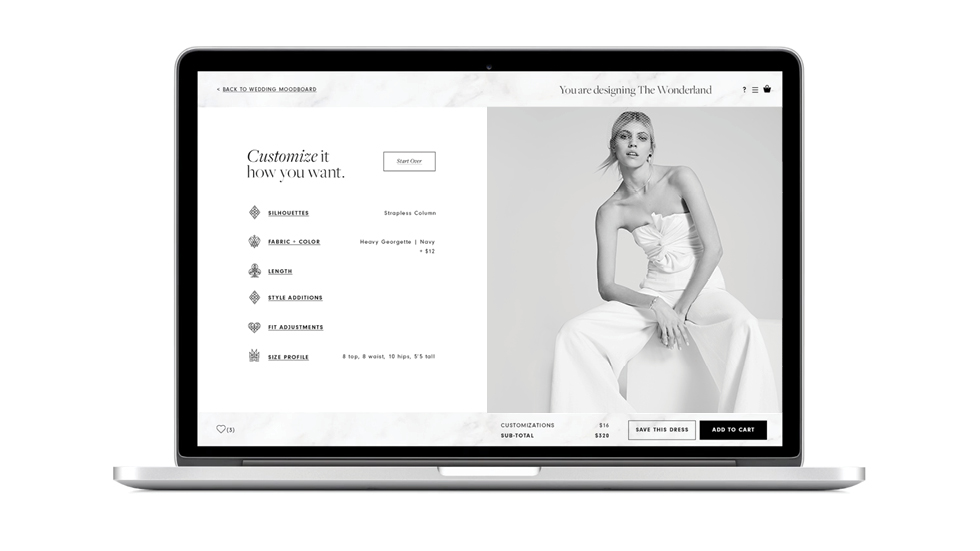 Comp image of computer with Fame and Partners bridal app interface produced by DTE Studio