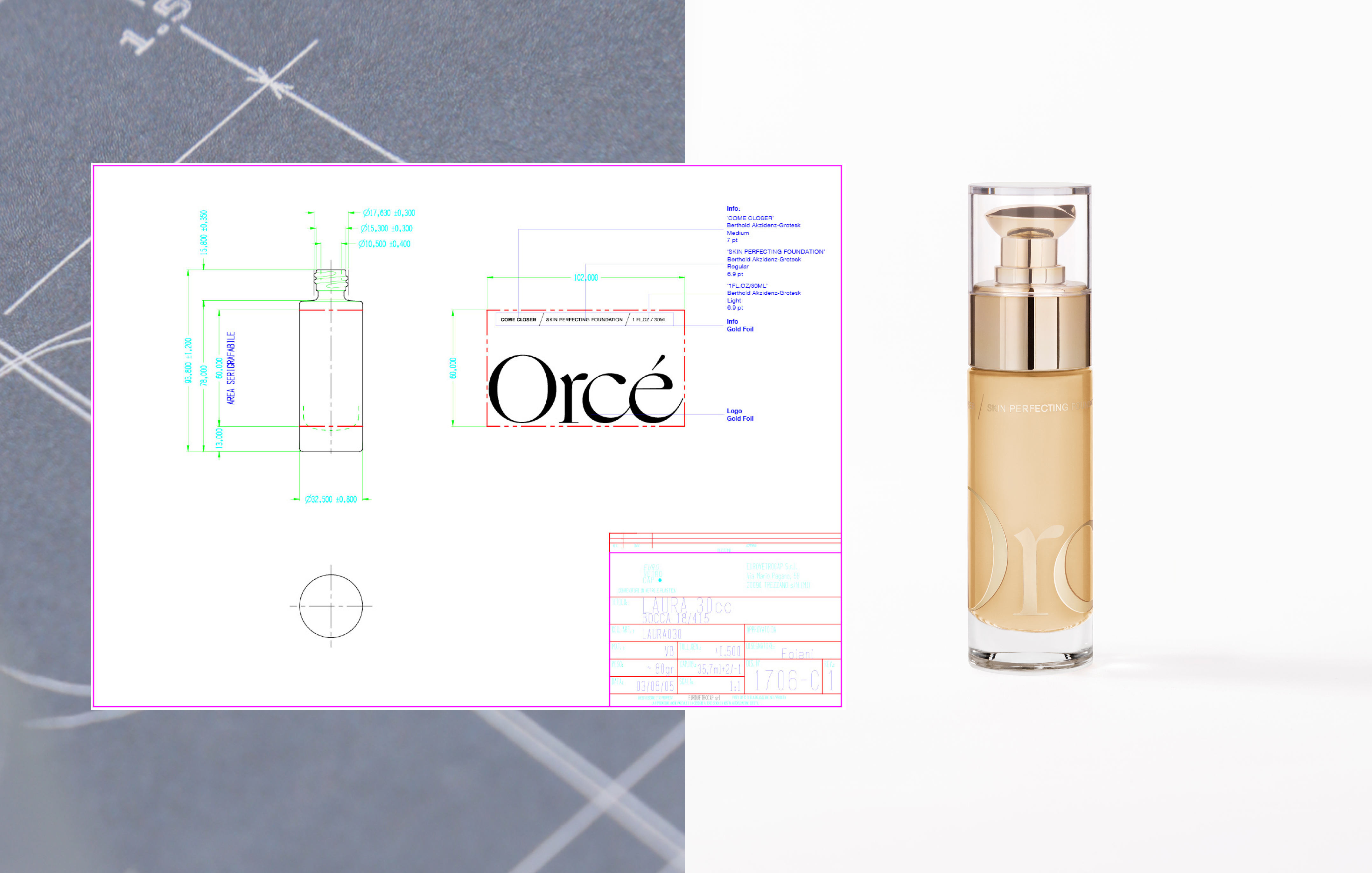 Primary and secondary packaging developed and created for make up brand, Orcé's new products.