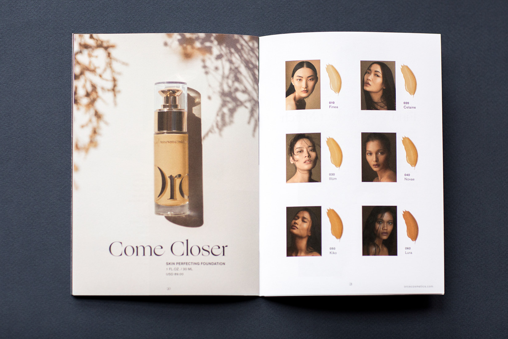 Orce Come Closer Skin Perfecting Foundation brand catalogue. Orce is a modern beauty brand for Asian skin.