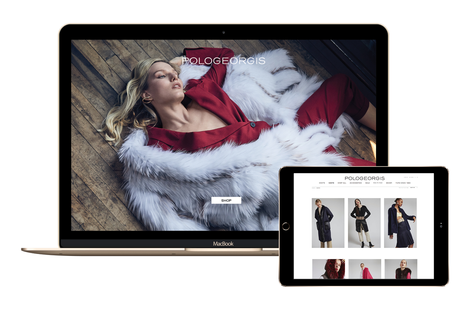 A mock up of the E-commerce crested by DTE Studio for the Fashion brand Pologeorgis.