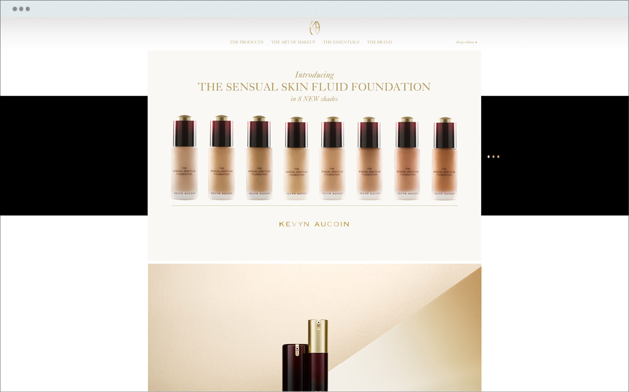 Full product range on display in Kevyn Aucoin's website custom designed by DTE