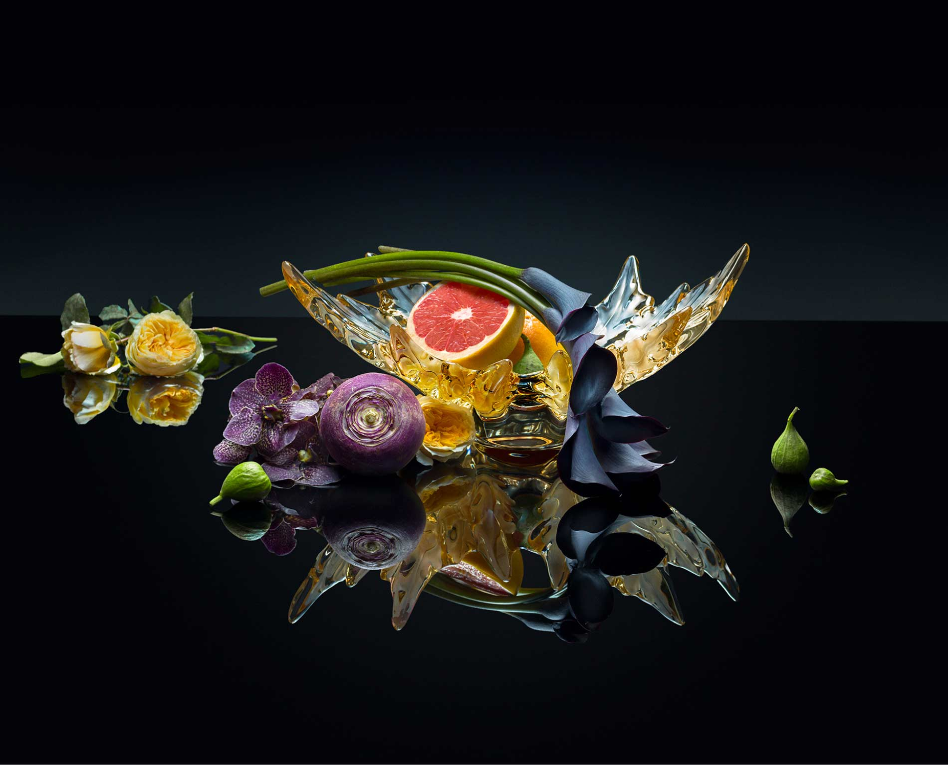 Gorgeous fine crystal brand Lalique's product with fruits and flowers