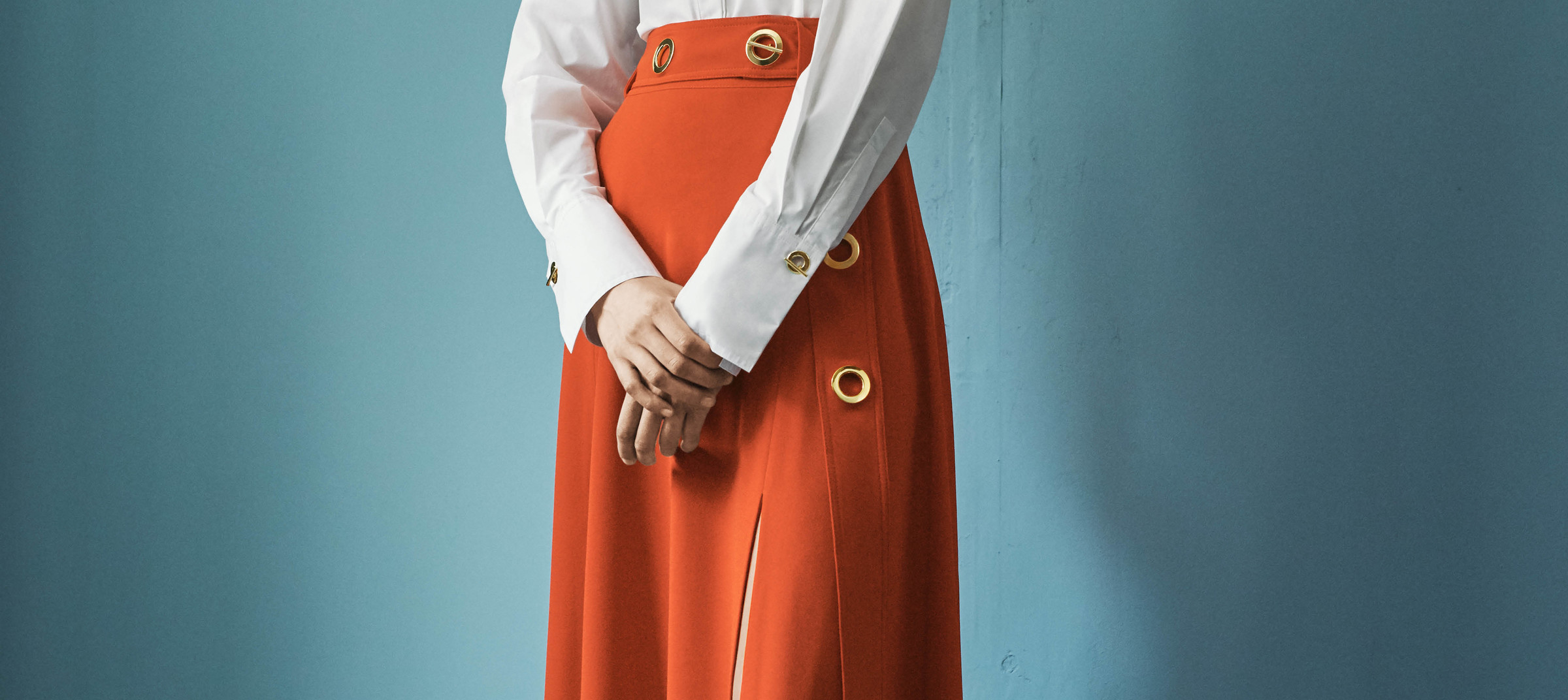 Model in Derek Lam 10 Crosby skirt for pre-spring 2018 look book