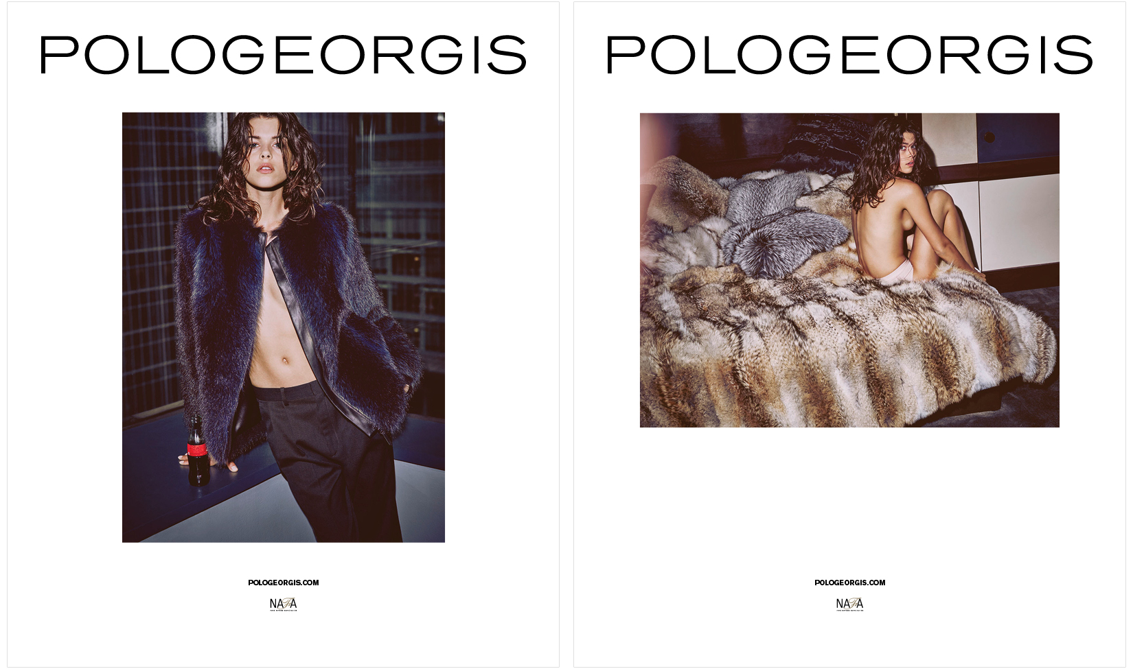 Model in Pologeorgis' fur coat for 2015 advertising campaign by DTE.