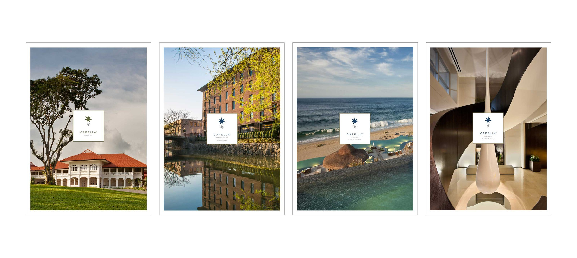 Digital and print designs by DTE Studio for Capella Hotels