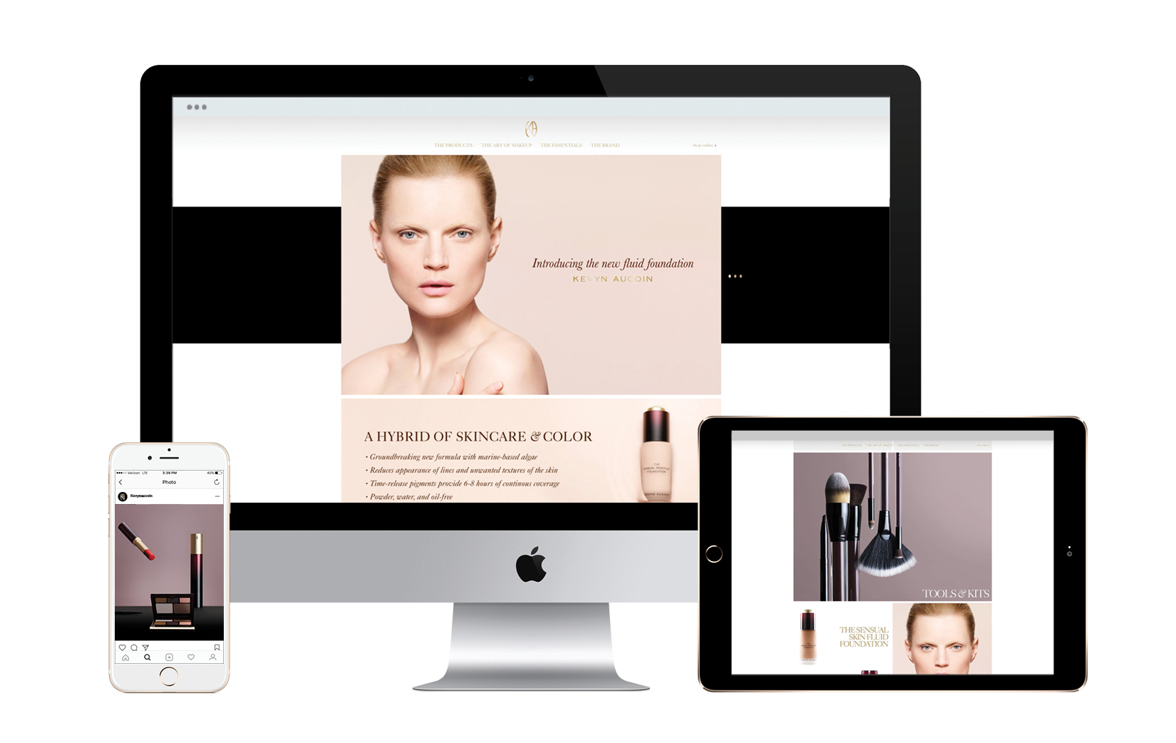 Web and mobile-friendly website for Kevyn Aucoin's brand re-launch.