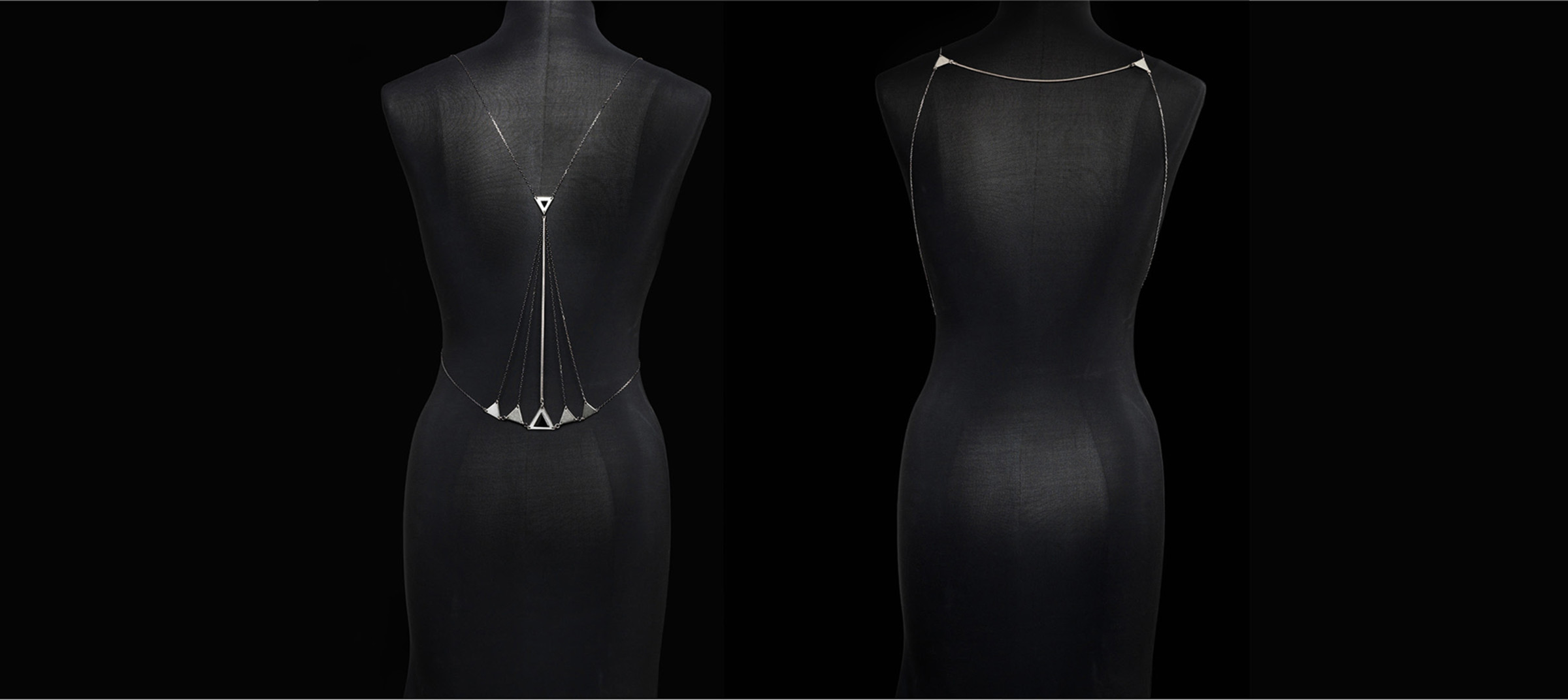 Bliss Lau's limited edition jewelry piece, Ray of Moon, on mannequin shot by DTE Studio.