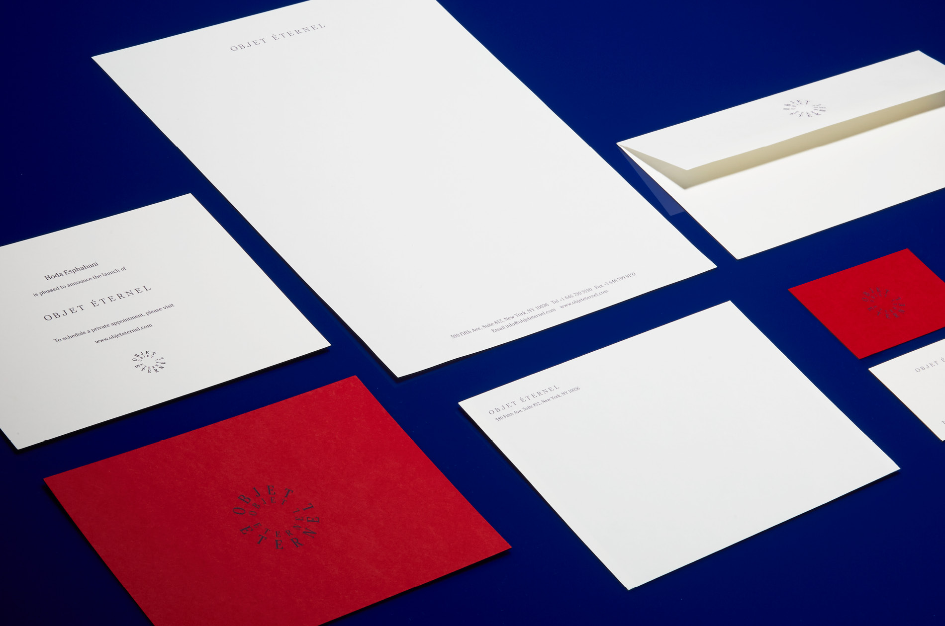 Still life photograph of Objet Eternel's new logo and stationary by DTE Studio.