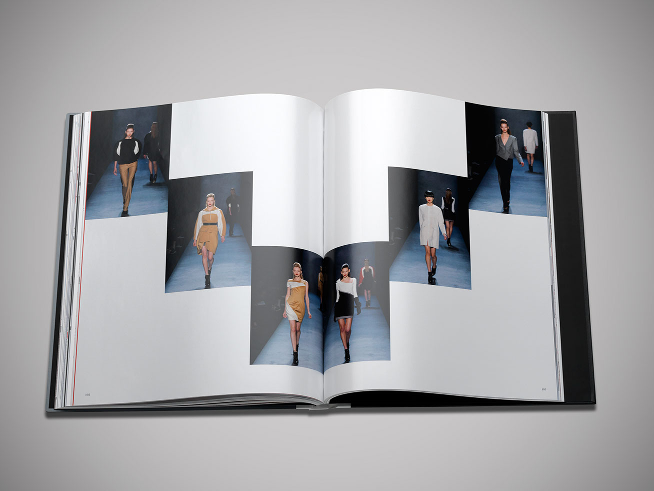 Runway shots of Prabal Gurung's collection in brand book designed and produced by DTE Studio