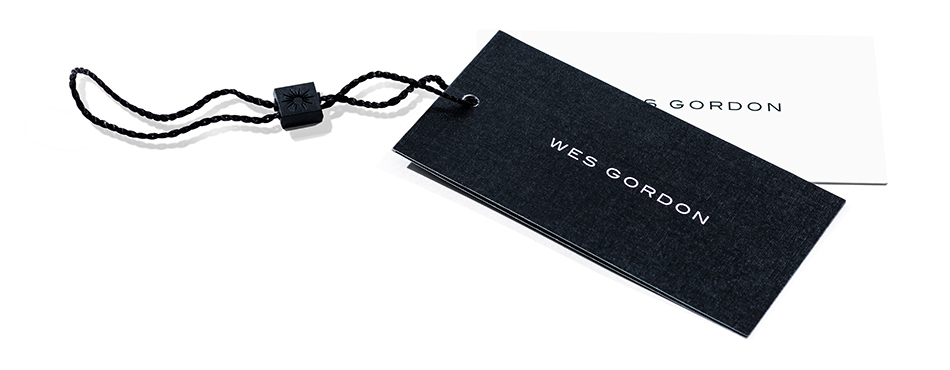 Clothing tag created for Wes Gordon by DTE Studio