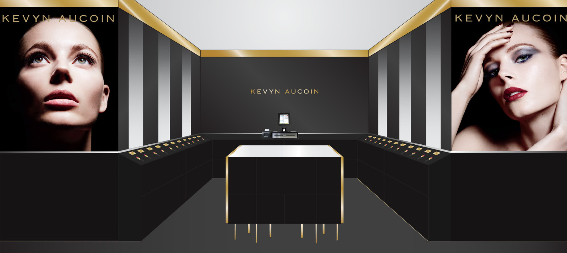 Kevyn Aucoin 3D rendered makeup counter space created by DTE Studio