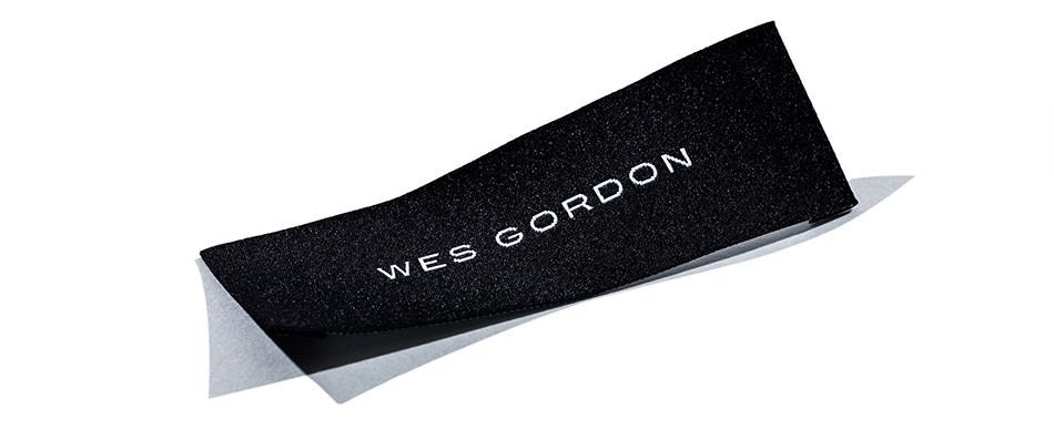 Wes Gordon clothing tag designed by DTE Studio