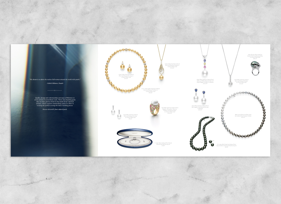 A catalog that was designed by DTE Studio to display the pieces created by Mikimoto.