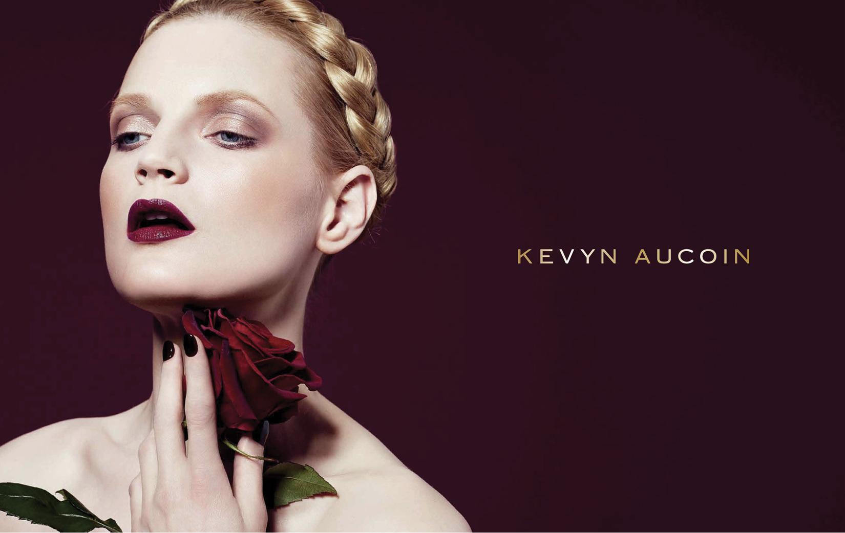 Model wearing Kevyn Aucoin cosmetics.