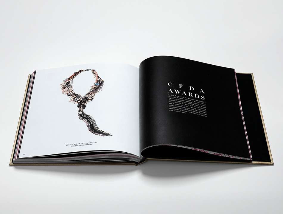 Fenton and Swarovski Crystal necklace for CFDA Awards in brand book designed and produced by DTE Studio