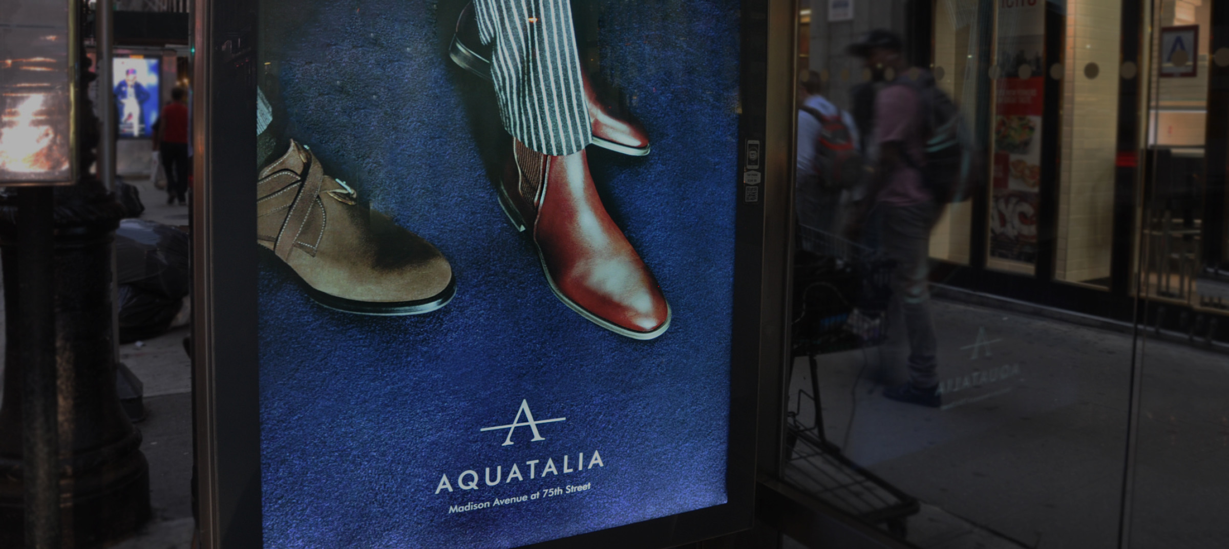 Aquatalia's mens collection in New York City's bus stops by DTE Studio.