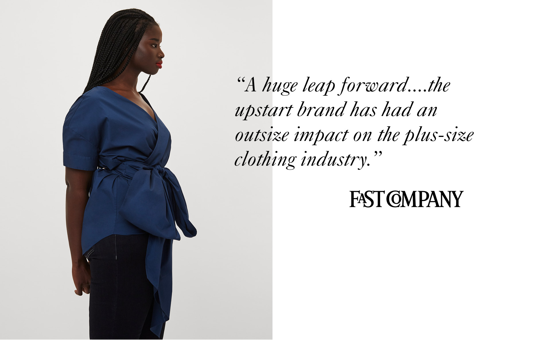 Model wearing Universal Standard with Fast Company's press mention.