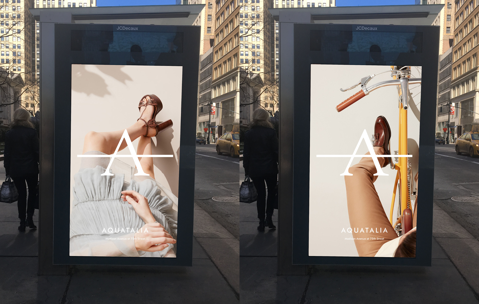 Aquatalia print campaign on New York City bus stops by DTE.