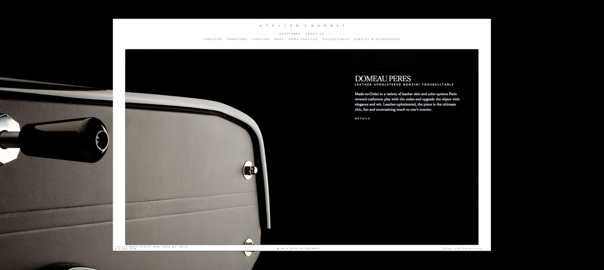 Atelier Courbet's online e-commerce shop preview with logo and brand mark designed by DTE