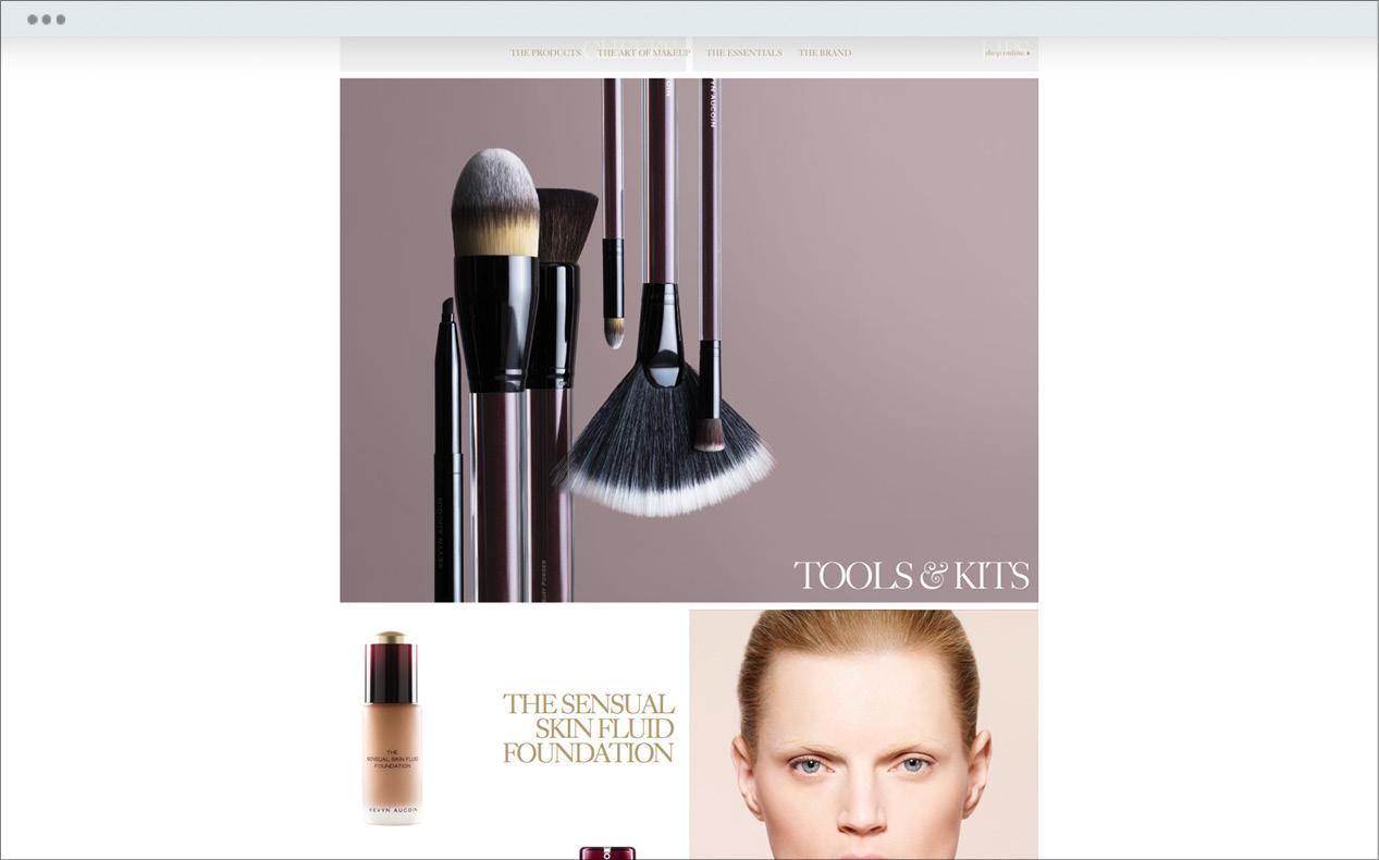 Prestige beauty brand, Kevyn Aucoin's brand site custom created by DTE Studio