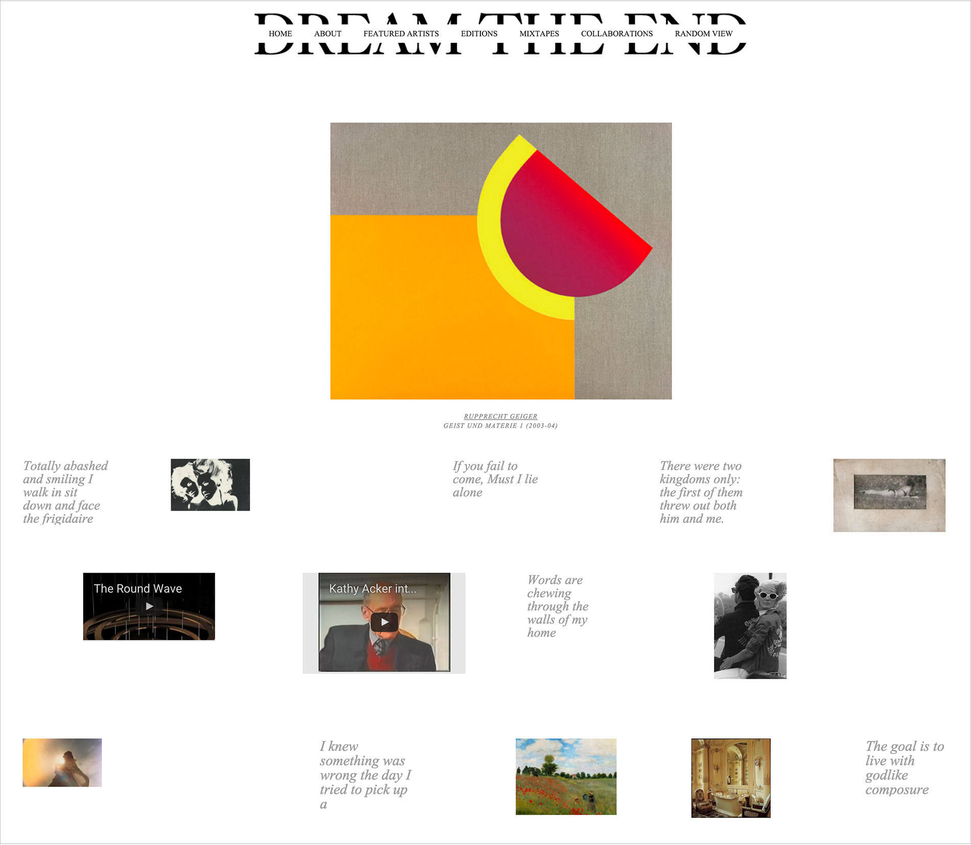 The home page for the dream the end website created by DTE Studio.