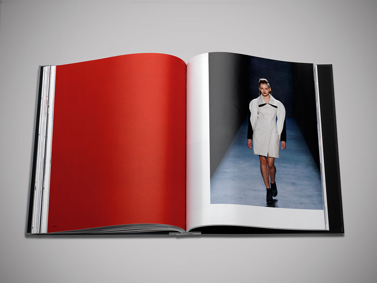 Model walking the runway for Prabal Gurung featured in brand book designed by DTE.