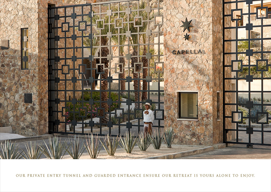 Image of outside of Capella Hotel with layout designed by DTE Studio as promotional piece