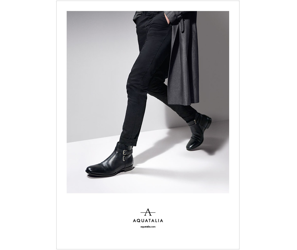 Model wearing a pair of mens boots from the Aquatalia 2016 campaign.