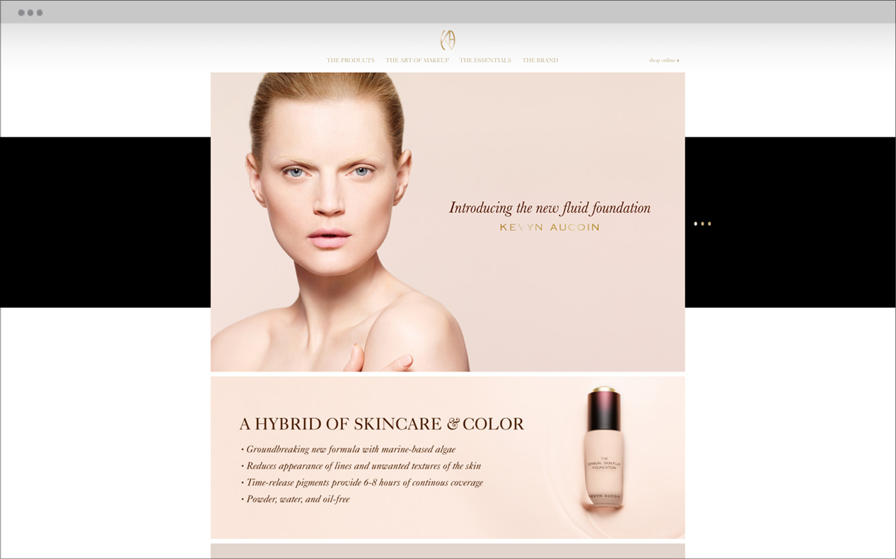 DTE developed Kevyn Aucoin's website with custom CMS for easily updatable and manageable interface