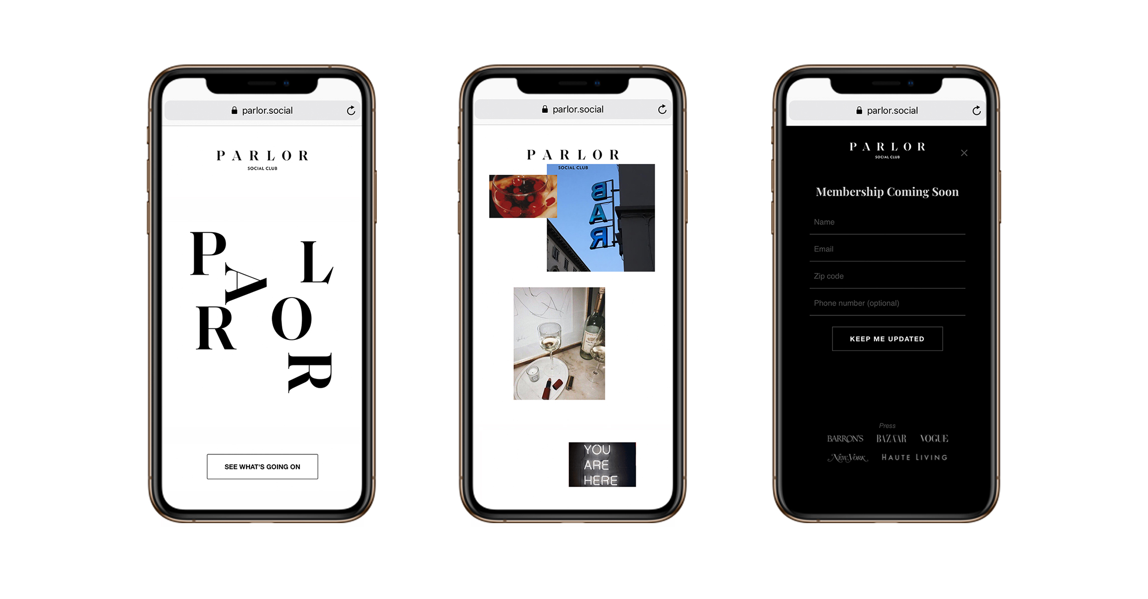 A showcase of a mobile-friendly website for Parlor Social Club, that was created by DTE Studio.