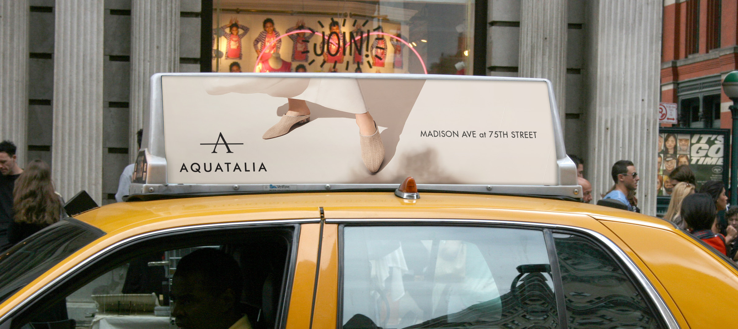Out of home campaigns created by DTE for Aquatalia on yellow cab