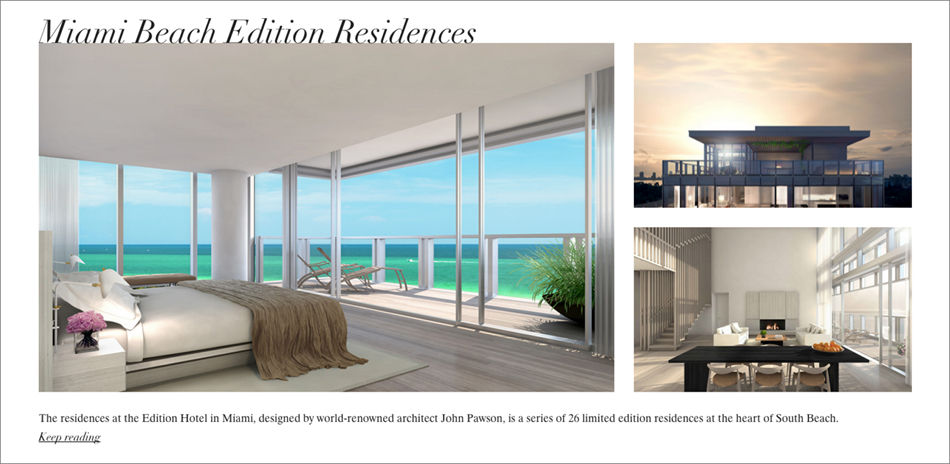 Residences at Edition Hotel in Miami featured as part of editorial campaign on Tumblr by DTE for Douglas Elliman Real Estate and Knight Frank Residential.