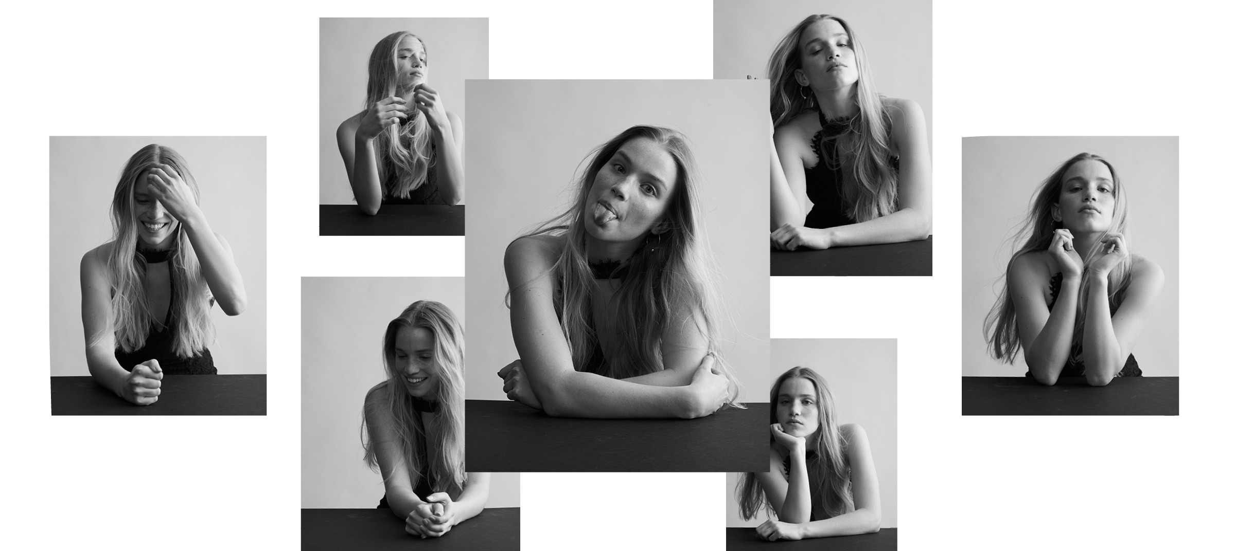 Candid collage of photographs of model for DTE's client