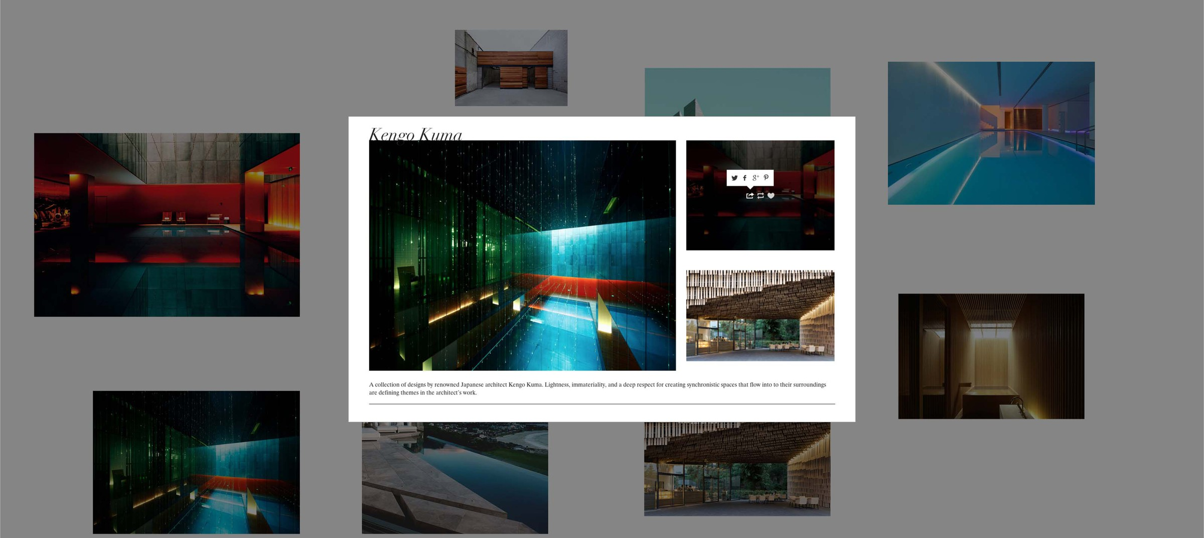 Spotlight of Kengo Kuma on new platform on Tumblr created for Douglas Elliman and Knight Frank by DTE Studio.