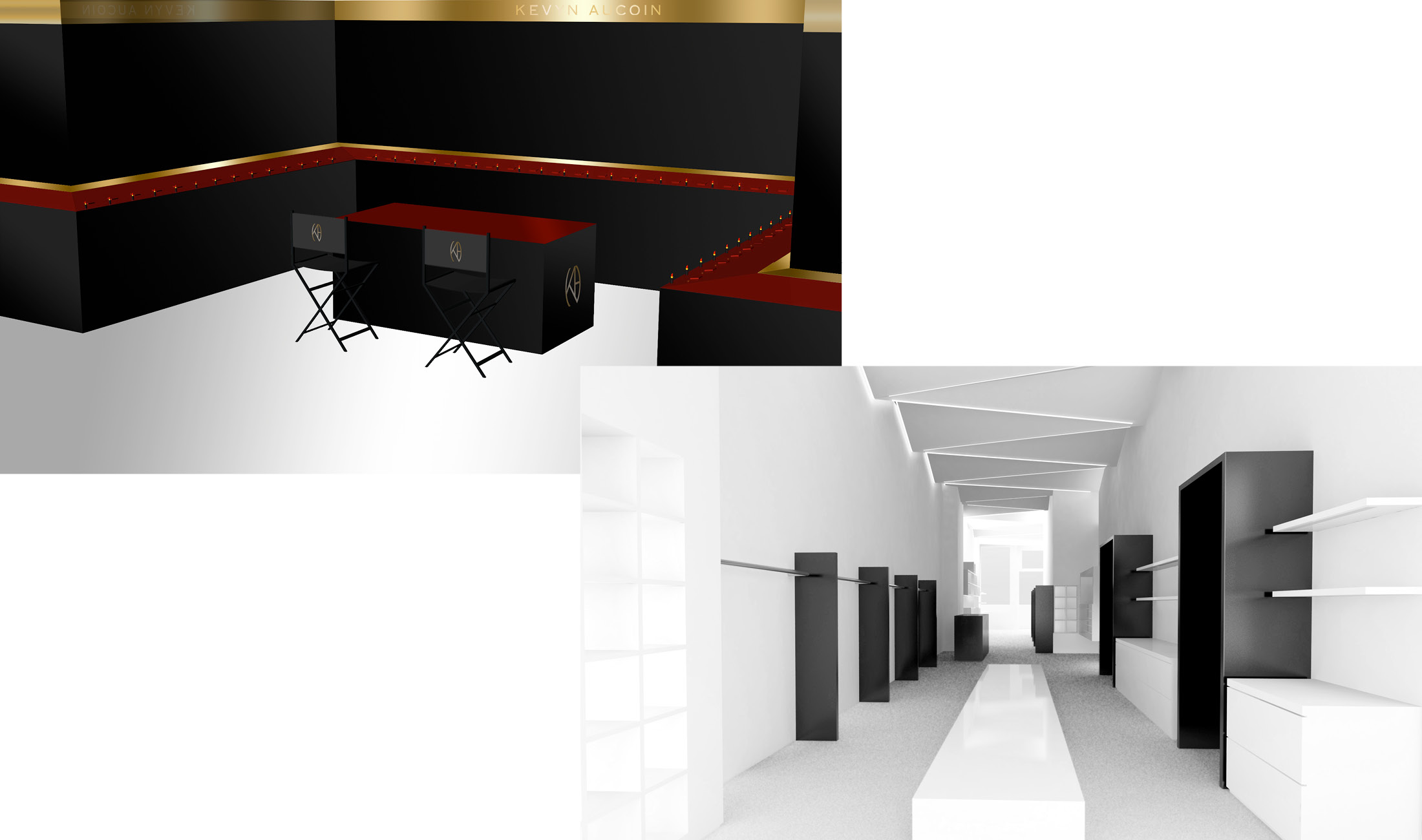 Two digital mock-ups of possible retail experiences for Kevyn Aucoin make up brand.