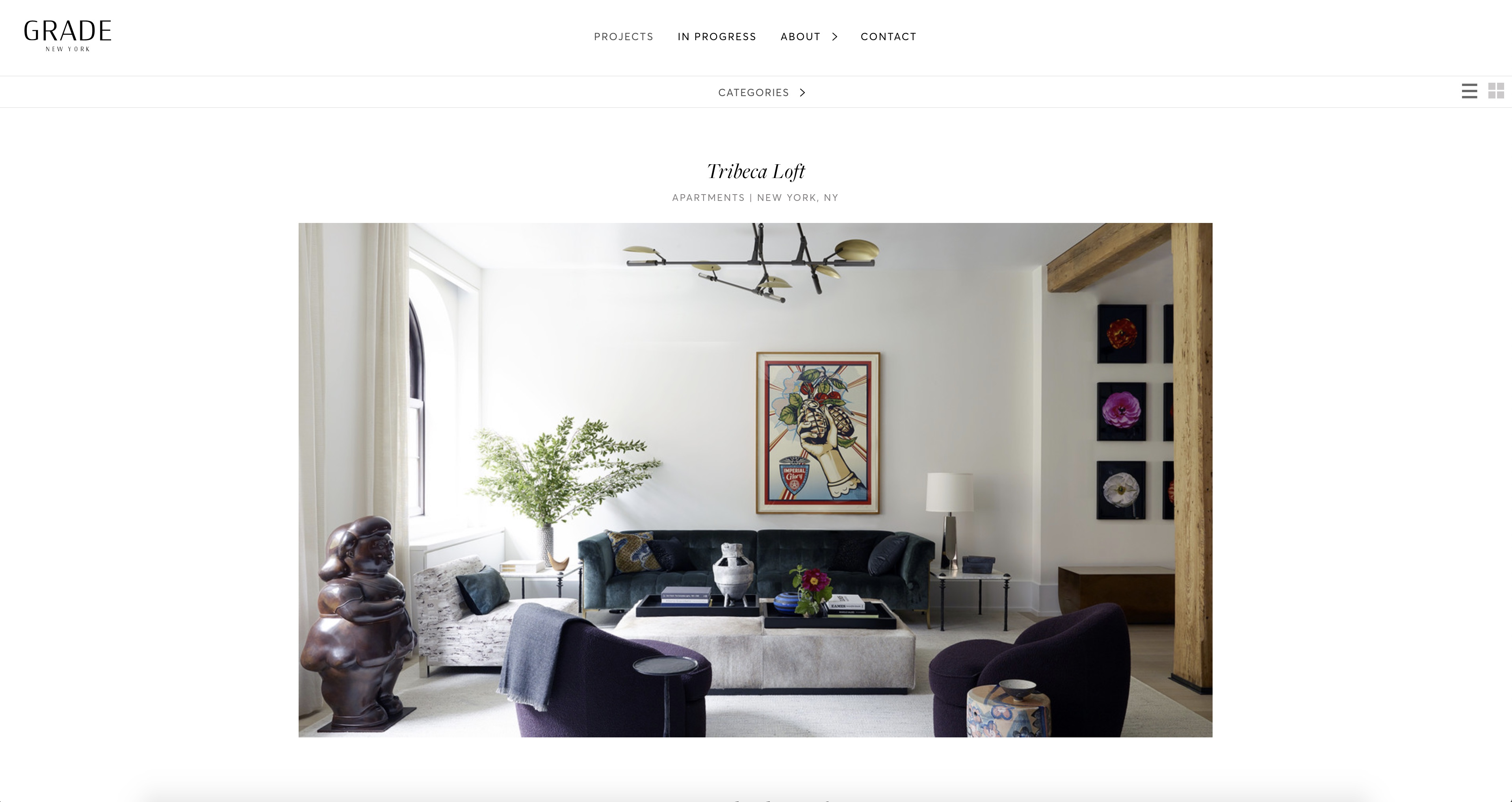 Project page of Grade New York's website that was designed and developed by DTE studio.