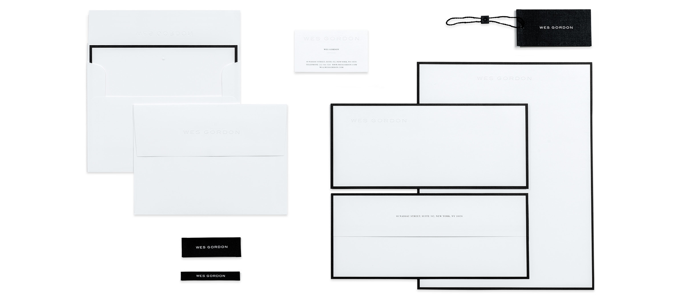 Wes Gordon stationary and letter heads designed by DTE Studio