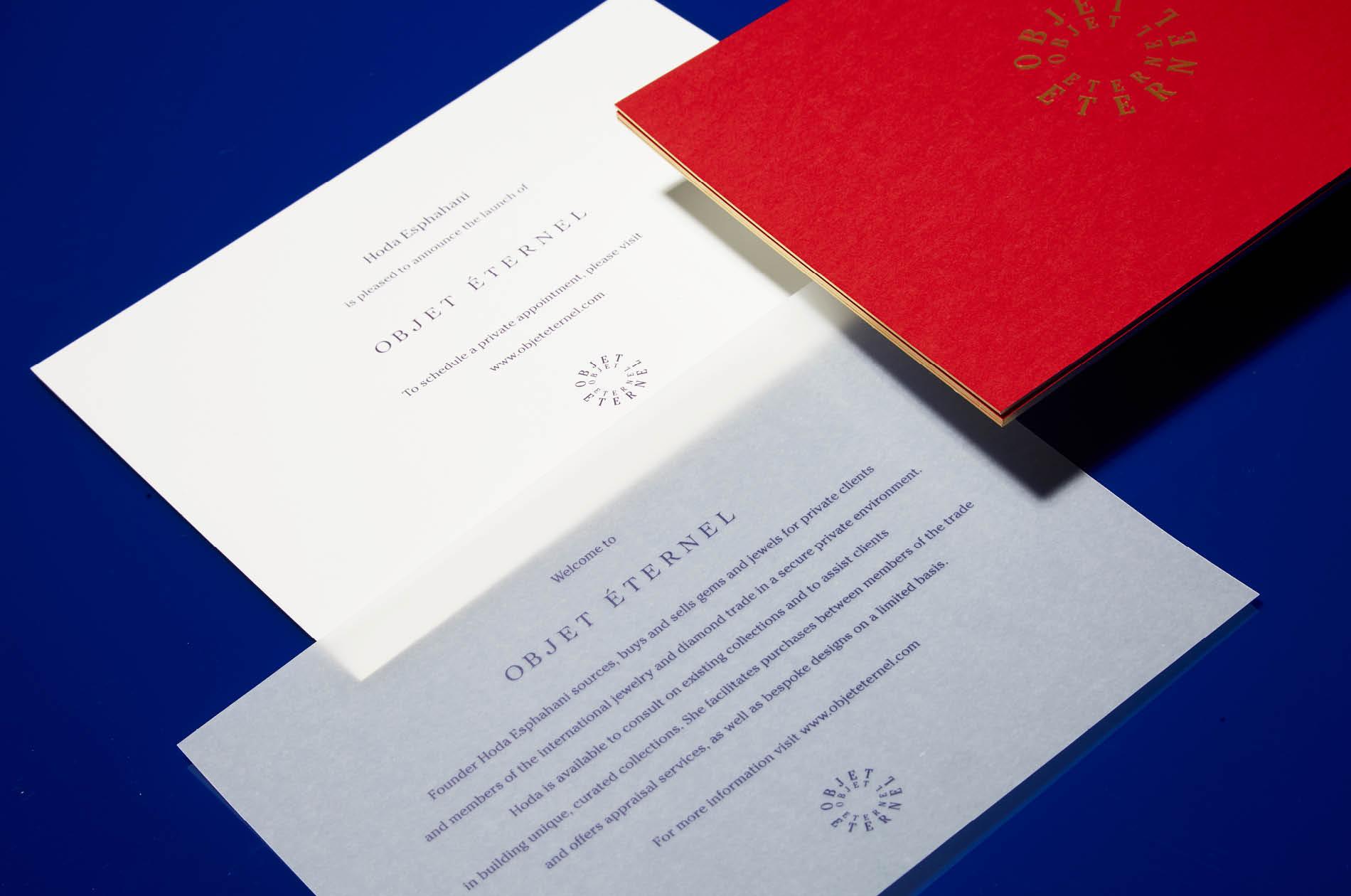 DTE designed business print collateral for Objet Éternel