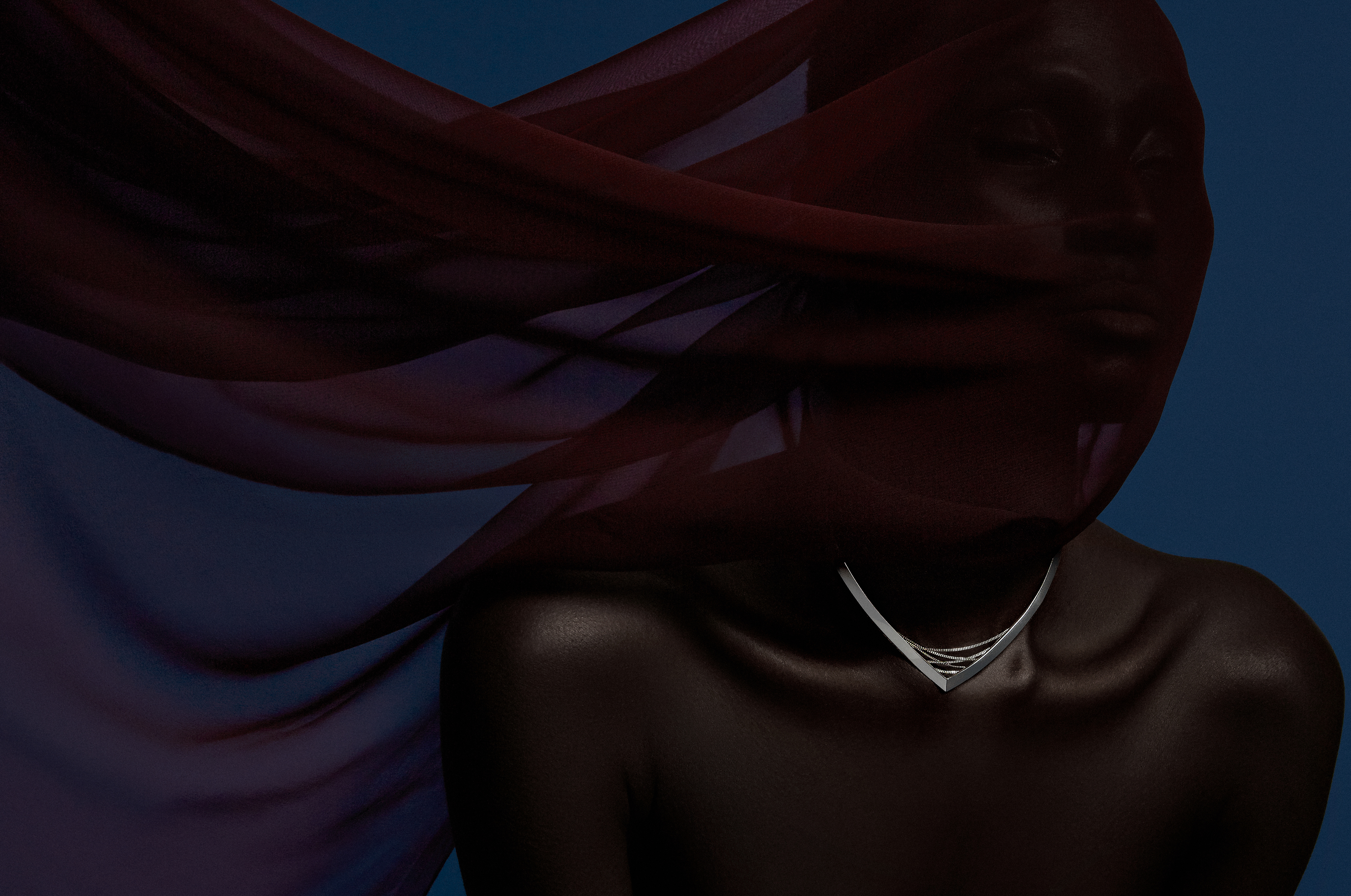 Photograph of jewelry campaign of model with veil produced by DTE Studio for Bliss Lau and Webby Awards.