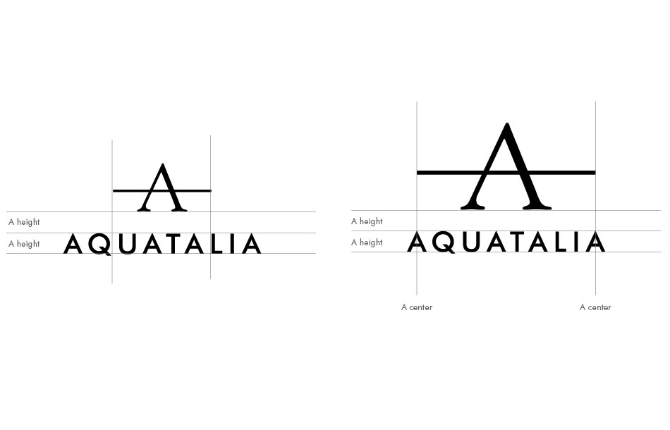 Aquatalia brand logo and identity redesigned by DTE.