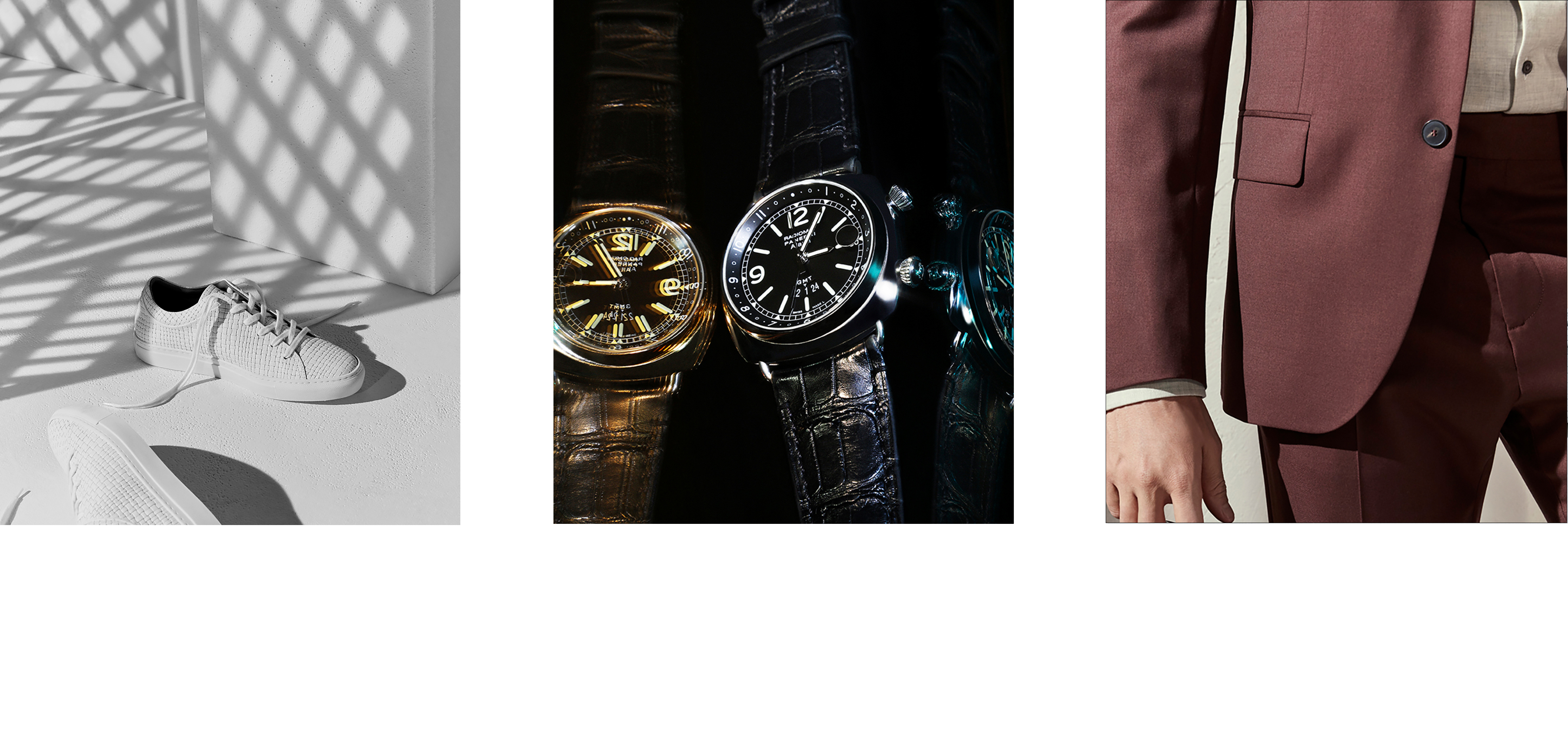 Clothing line consisting of trainers, luxury watches and men's suits.