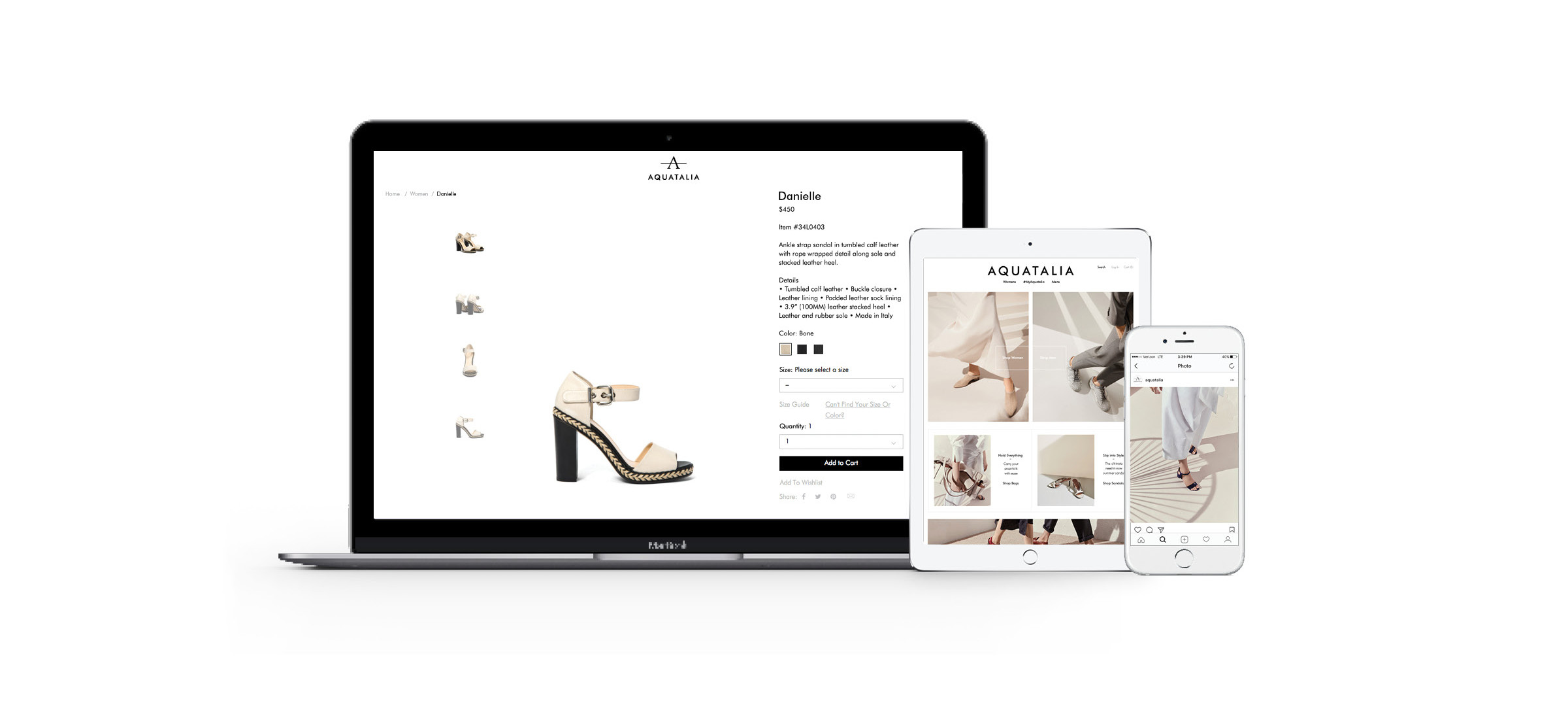 Aquatalia online shopping experience curated and shot by DTE Studio