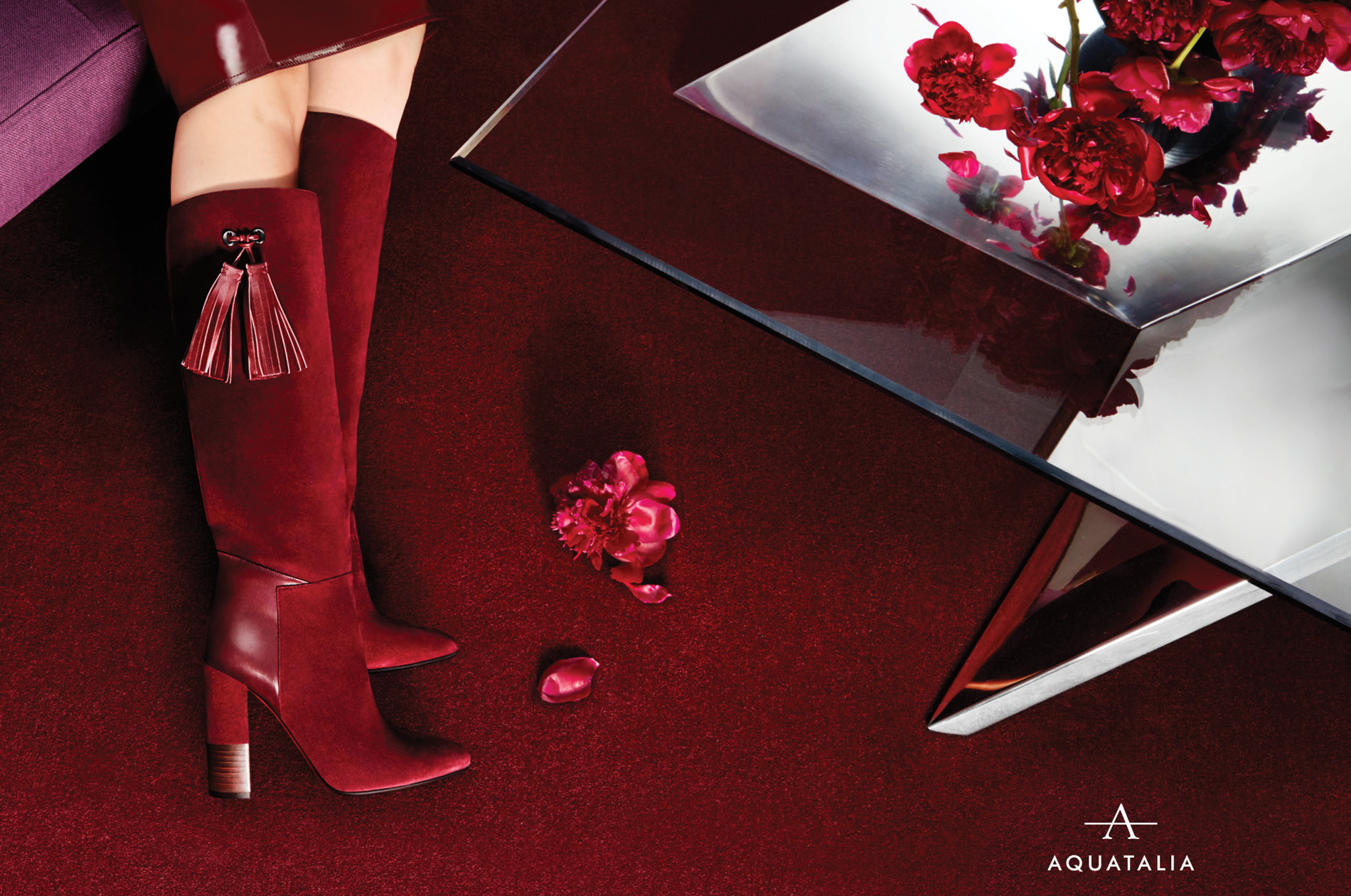 Red Aquatalia boots shot by DTE