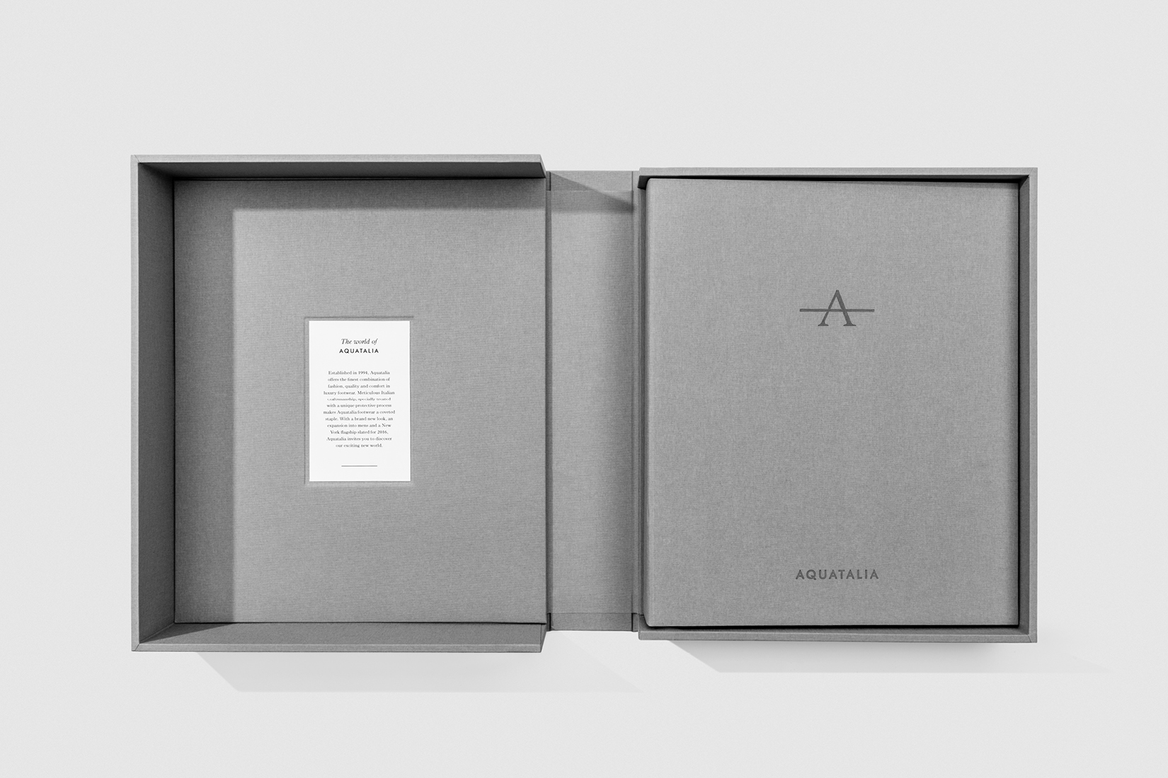 Aquatalia brand book designed and produced by DTE Studio as part of the 360 degree rebranding project.