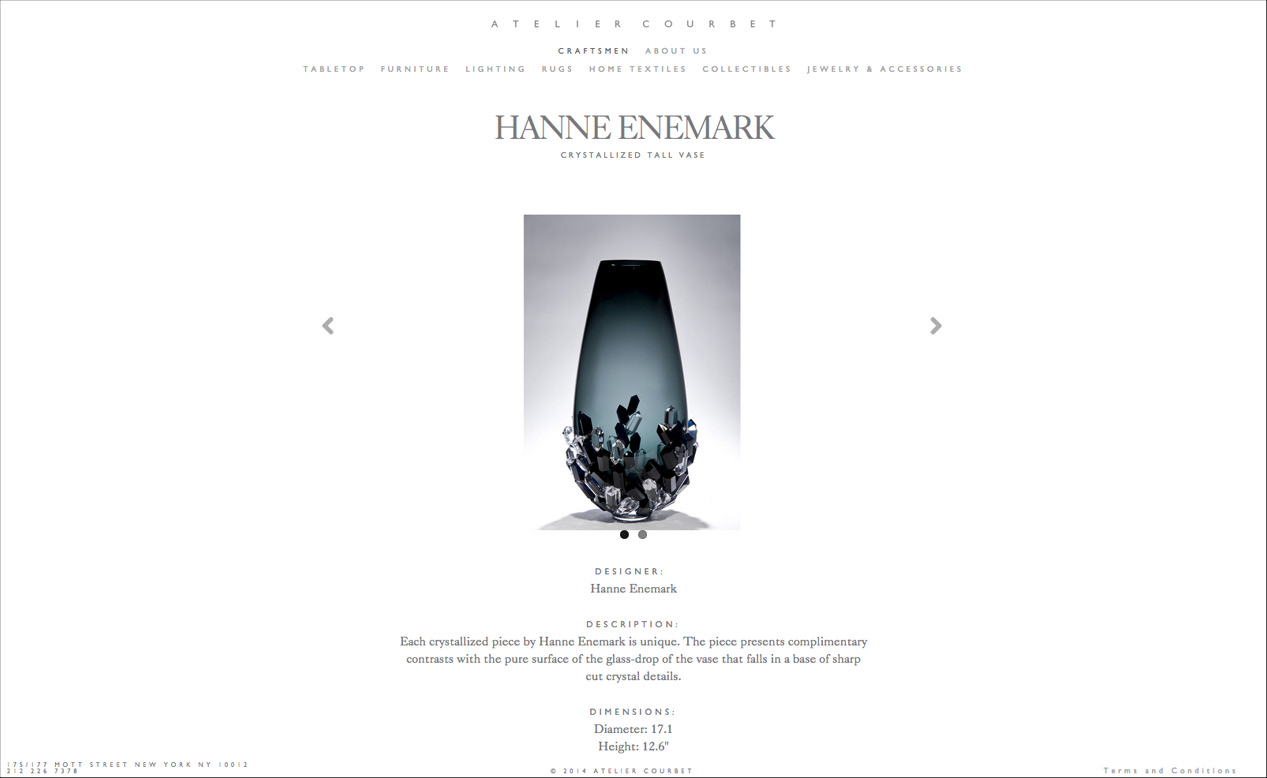 Product view of the custom website by DTE studio for Atelier Courbet showing a crystal vase by Hanne Enemark.